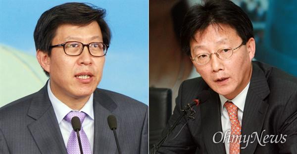 2007년 대선 정국 당시 이명박 캠프 대변인이었던 박형준 전 의원(왼쪽) 그리고 박근혜 캠프에 속했던 유승민 의원.