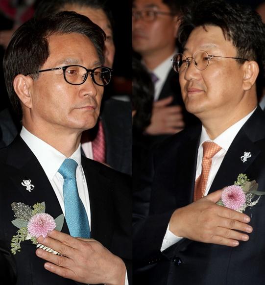 권성동 의원(오른쪽)과 최명희 전 강릉시장