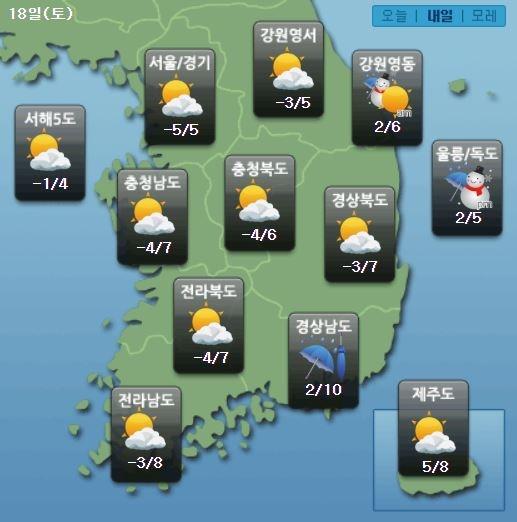 주요 지역별 토요일(18일) 날씨전망