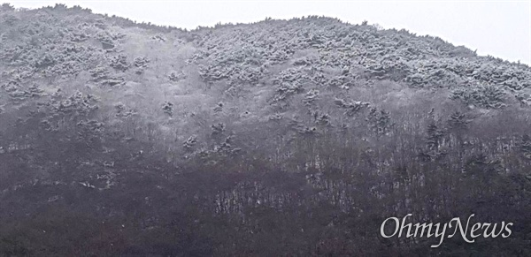 1월 18일 아침 김해장유에서 바라본 창원 쪽 산의 정상 부근에 눈이 쌓여 있다.