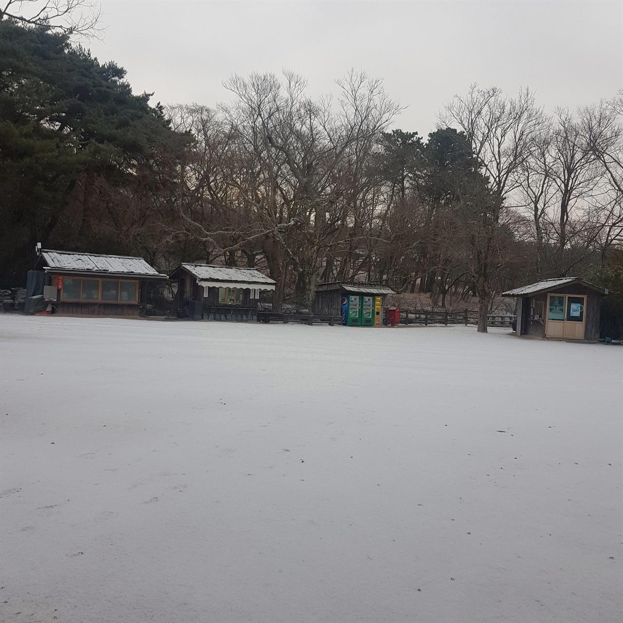 불국사 청운교 앞 마당, 올해 첫 눈이 내려 쌓였다