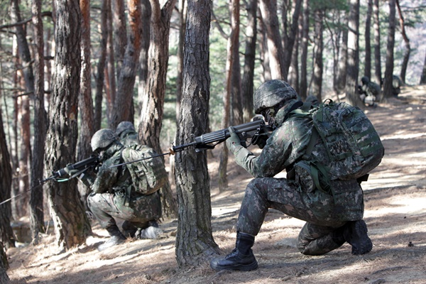 연초부터 강도 높은 훈련에 나선 육군 8군단 특공대원들이 2일 주둔지 훈련장에서 탐색격멸작전을 하고 있다.