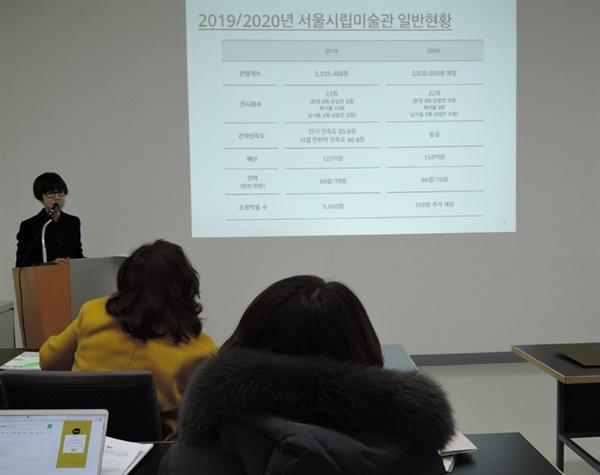 백지숙 서울시립미술관(SeMA) 관장 2020 새해 전시에 대해 설명하다