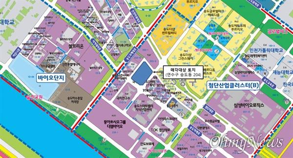 애경그룹 종합기술원은 송도국제도시 첨단산업클러스터(B) 안에 위치한 부지 2만8722㎡에 연면적 4만3000㎡ 규모로 만들어지며, 내년에 착공해 2022년 하반기에 준공할 계획이다. 사진은 애경그룹 종합기술원이 들어설 위치도.