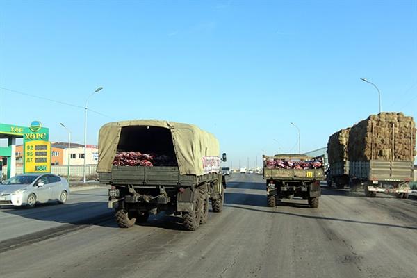 몽골 정부에서는 주민들에게 값싸고 개선된 석탄을 공급하고 있었다. 앞에 보이는 차량에 정부에서 개선한 석탄이 실려있다.
