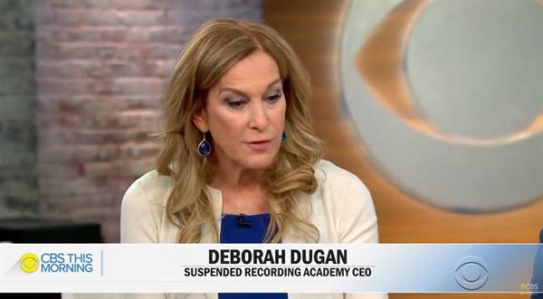 1월 23일 미국 방송국 CBS '디스 모닝'에 출연한 데보라 듀건. 듀건은 리코딩 아카데미 최초의 여성 CEO였으나 취임 5개월만인 올해 1월 리코딩 아카데미로부터 해고됐다.