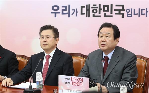 김무성 자유한국당 의원이 29일 오전 서울 여의도 국회에서 열린 당대표 및 최고위원-중진의원 연석회의에 참석해 발언하고 있다.