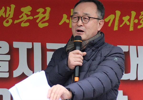 송치영 소상공인연합회 백년가게수호국민운동본부 위원장이 기자회견문을 통해 상생을 강조했다.