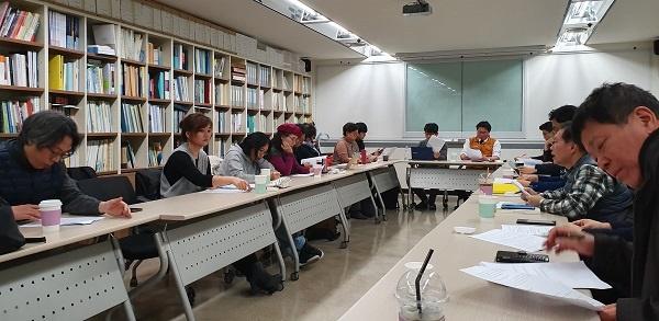 회의 30일 오전 서울 중구 프레스센터 18층 언론노조 회의실에서 열린 미디어개혁시민네트워크 전체회의 모습이다.