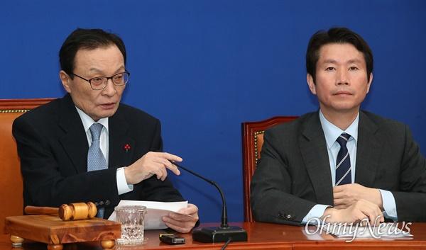 이해찬 더불어민주당 대표가 3일 오전 서울 여의도 국회에서 열린 최고위원회의를 주재하고 있다.