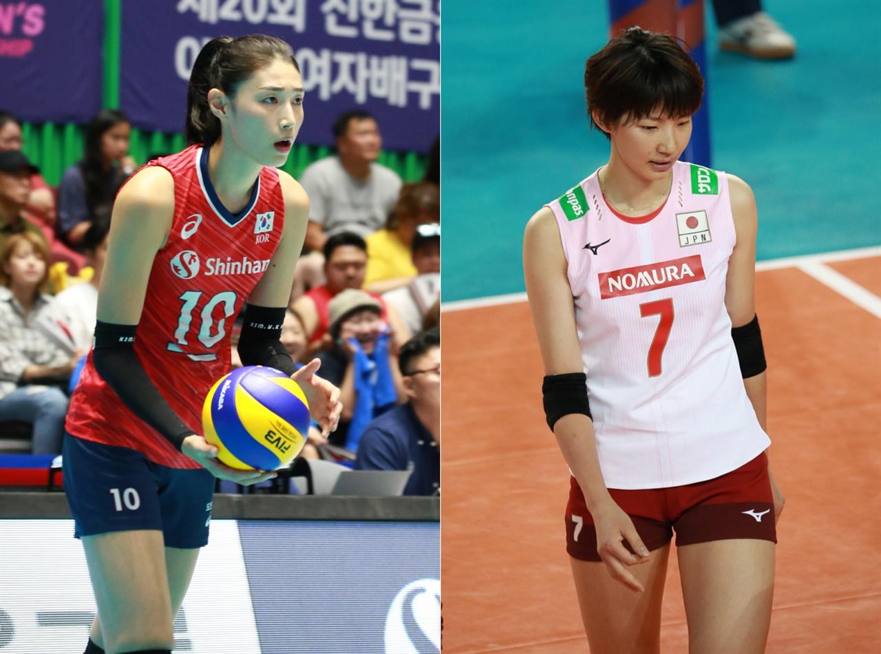여자배구 한국 대표팀 김연경(192cm)-일본 대표팀 이시이(180cm) 선수