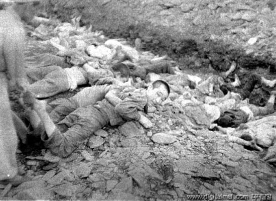 1950년 7월. 대전 골령골 민간인학살 현장 사진. 한국전쟁 당시 대전에서는 1만 여명 가까운 (대전 골령골에서 군경에 의해 7000명, 대전형무소에서 인민군에 의해 1500여명 등) 민간인이 희생됐다.