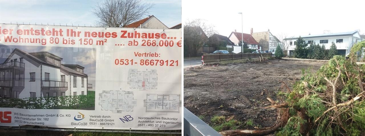 독일 재건축 광고와 건설 현장