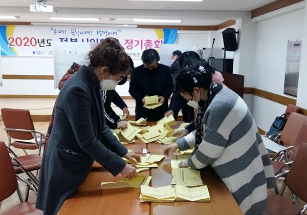 전북시인협회 제8대 회장 선거 개표 모습  2월 8일 오후 전북시인협회 제8대 회장선거 후 선거관리위원들이 개표를 진행하고 있다.