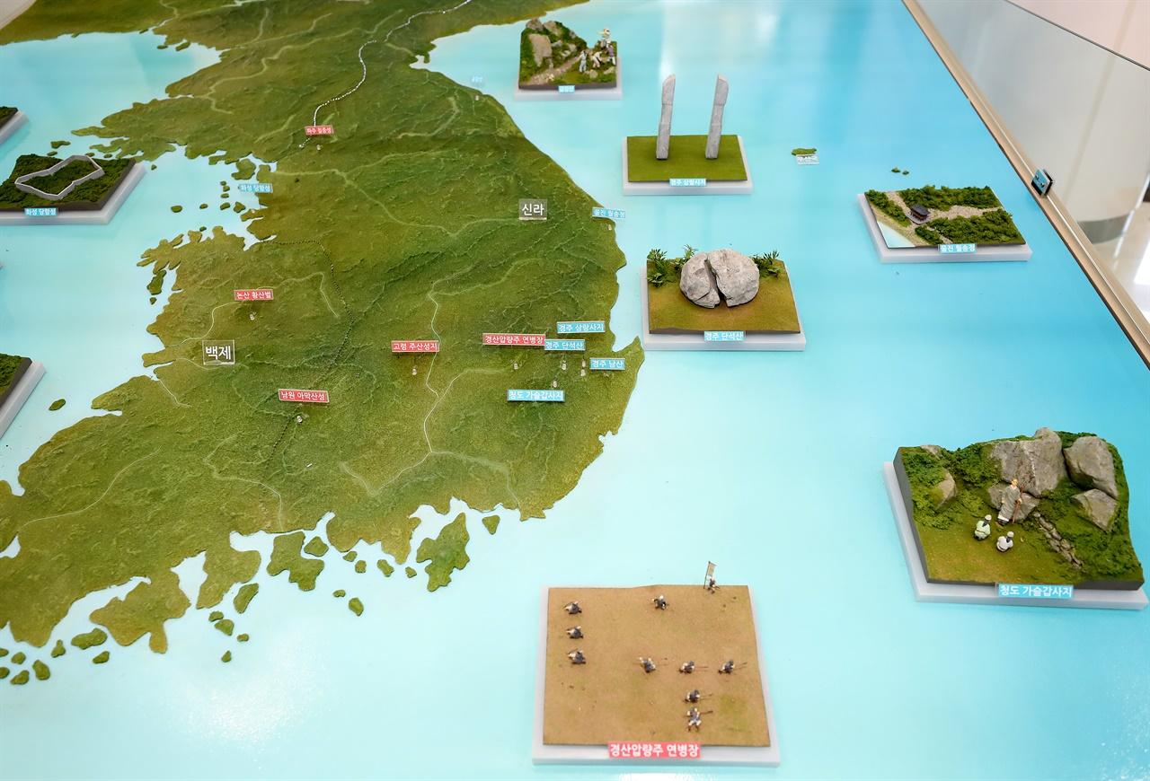 화랑 관련 유적과 유물들이 발견된 곳을 표시한 지도.