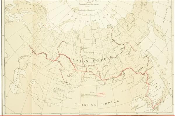 조지 포크 여행도  1882년 6월 3~9월 8일 귀국시 탐험 여행