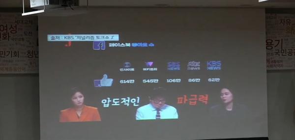 11일 자유한국당이 영입인사 김보람 인사이트 CCO(최고콘텐츠책임자)를 소개하며 스크린 위로 띄운 영상.