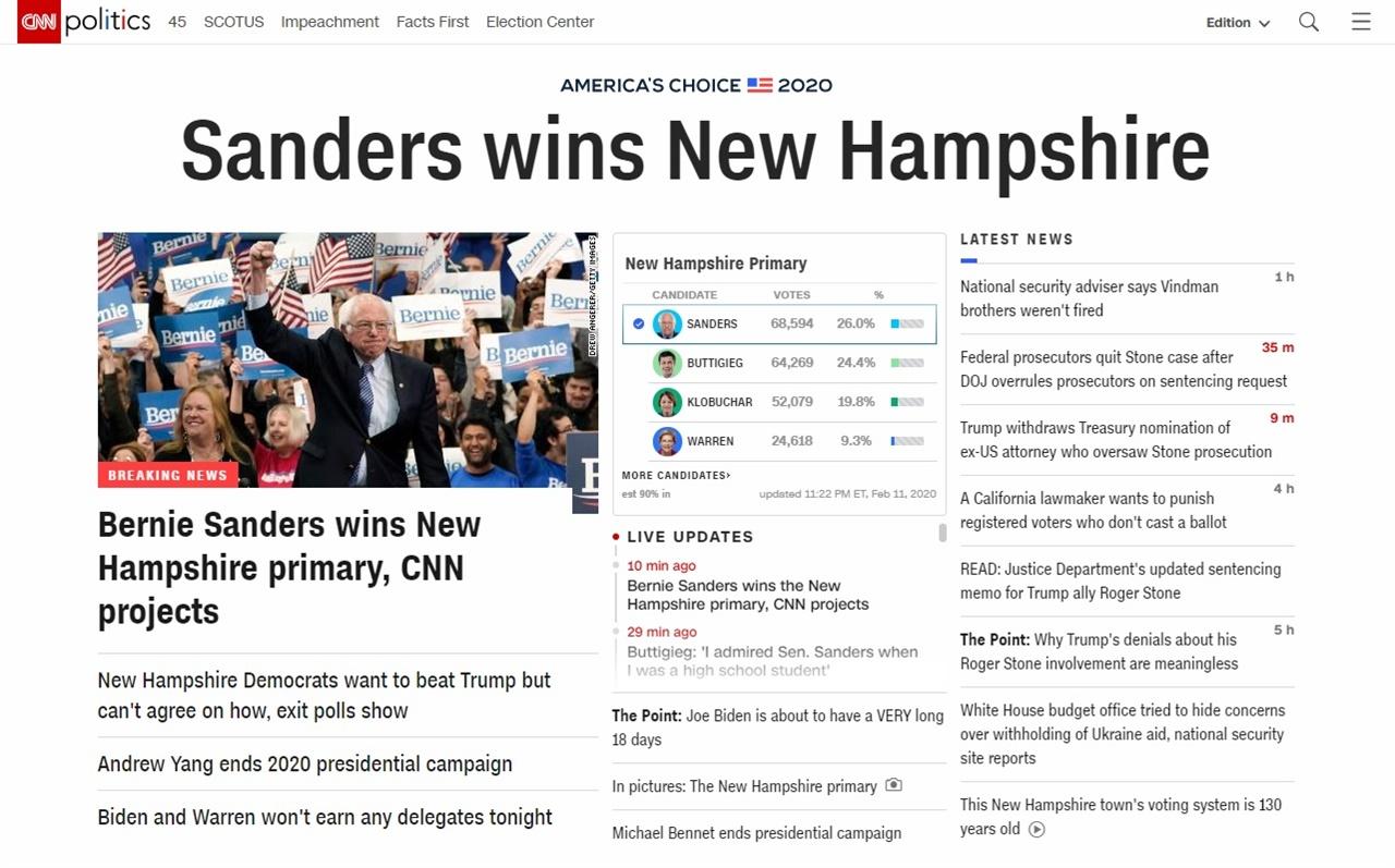 버니 샌더스 상원의원의 미 민주당 뉴햄프셔 경선 승리를 보도하는 CNN 뉴스 갈무리.