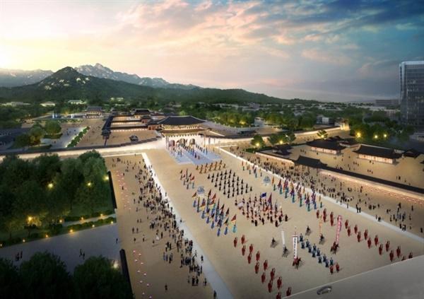 서울시가 2018년 4월 10일 문화재청과의 '광화문광장 조성' 업무협약 당시 공개했던 '역사광장'의 조감도.