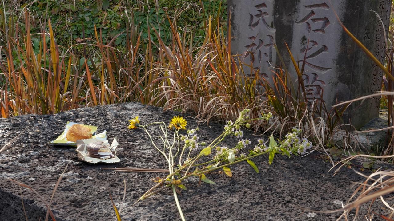 남매상봉기념비 제단 위에 준비해 가져간 술과 음식을 올리고, 들꽃을 꺾어다 올렸습니다.