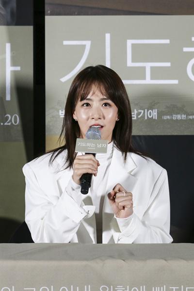 영화 <기도하는 남자> 언론시사회 및 기자간담회. 현장에는 강동헌 감독을 비롯해 배우 박혁권, 류현경이 자리했다.
