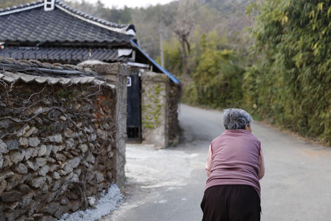 보성 강골마을의 한낮 고샅 풍경. 한 어르신이 유모차에 기대 고샅을 걷고 있다. 지난 2월 9일이다.