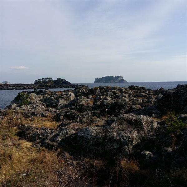 지척이 바다  5분만 걸어나가면 강정천과 강정바다였다. 범섬이 보인다.