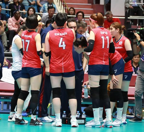 여자배구 대표팀 경기 모습