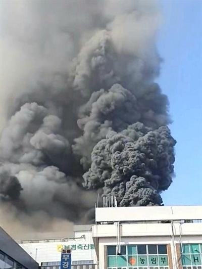 14일 오전 10시 18분경 김해 주촌면 축산물종합유통센터 공사장에서 불이 났다.