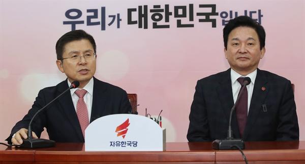 자유한국당 황교안 대표가 22일 오전 국회에서 원희룡 제주도지사와 만나 대화하고 있다. 2020.1.22