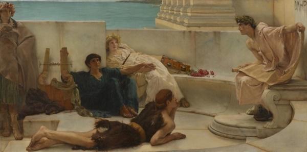 <호메로스 읽기>, 로렌스 알마 타데마, 1885년, 캔버스에 유채, 미국 필라델피아 미술관