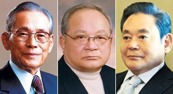 이병철 삼성그룹 창업자와 장남 이맹희, 3남 이건희(왼쪽부터).