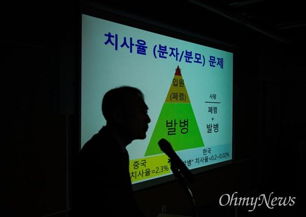 20일 오전 서울 중구 국립중앙의료원에서 코로나19에 대한 신종감염병 중앙임상위원회 기자회견이 열리고 있다.