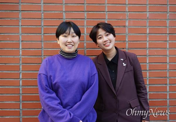 이가현 무소속 예비후보(왼쪽), 조혜민 정의당 여성본부 본부장(오른쪽).
