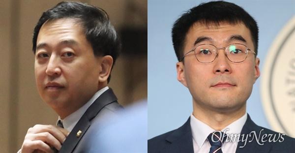 금태섭 더불어민주당 의원(서울 강서갑)과 김남국 변호사. 21일 민주당은 김남국 변호사를 다른 지역에 전략공천하기로 결정했다.