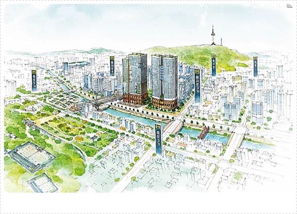입정동 초입인 세운3-1, 4, 5구역에 우뚝 선 세운힐스테이트 아파트 스케치.
