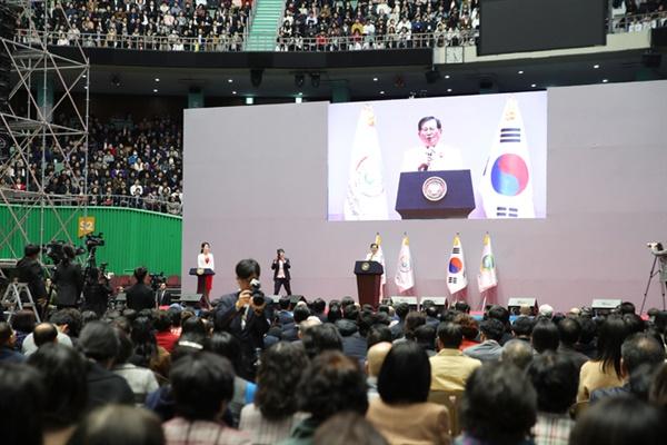 2019년 3월 14일 열린 DPCW3주년 기념식에서 신천지예수교회 이만희 총회장이 연설하고 있다.