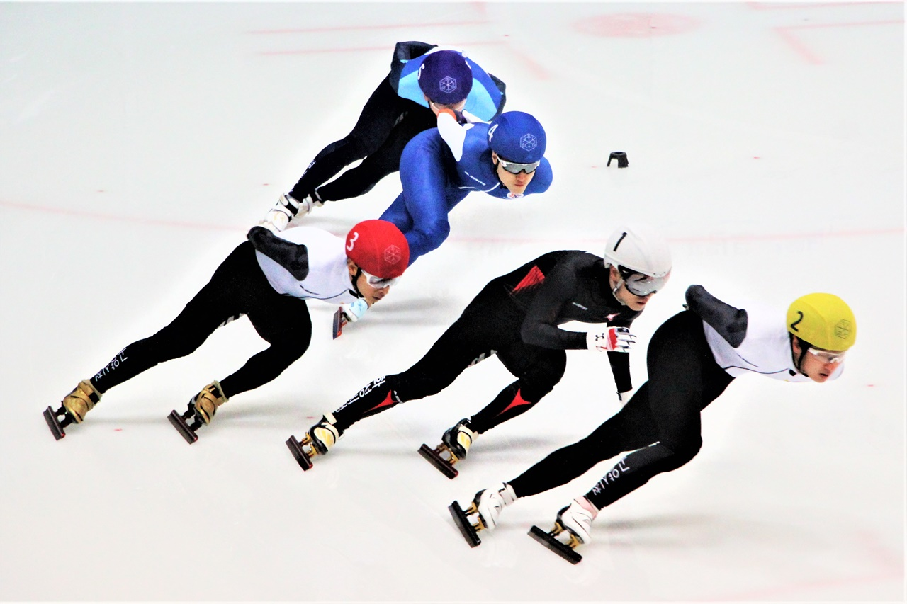 지난 20일 성남빙상장에서 열린 동계체육대회 쇼트트랙 부문에서 남자부 선수들이 질주하고 있다.