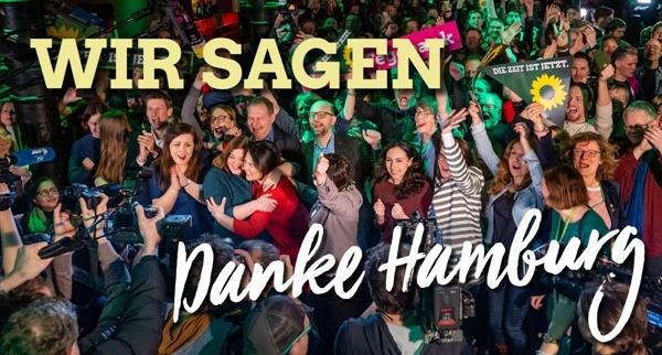 """함부르크 녹색당 창당 이래 최고 득표율을 기록한 함부르크 녹색당 """"우리는 말합니다, 고마워 함부르크!"""""""