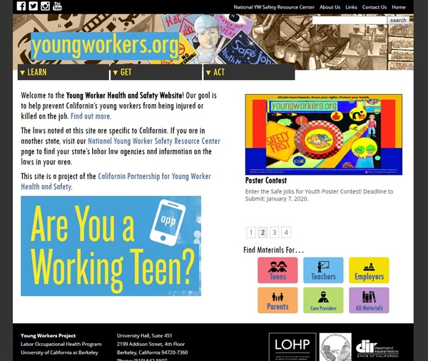 미국 캘리포니아주에서 운영하는 청소년 노동 관련 홈페이지 메인 화면(http://youngworkers.org)