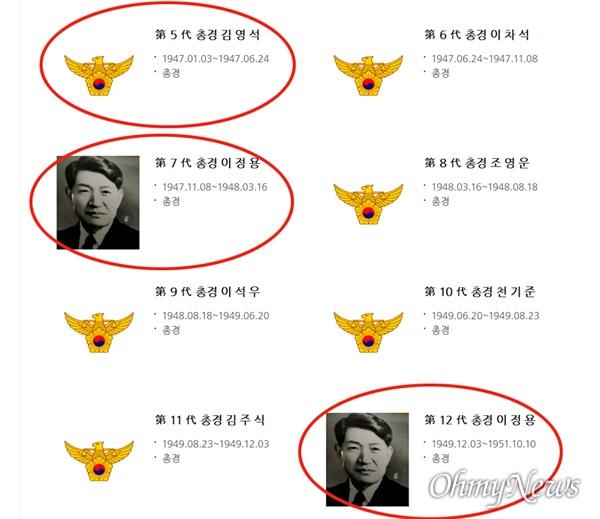 진주경찰서 홈페이지의 역대서장에 소개되어 있는 김영석, 이정용 서장으로 이들은 친일행적이 있다.