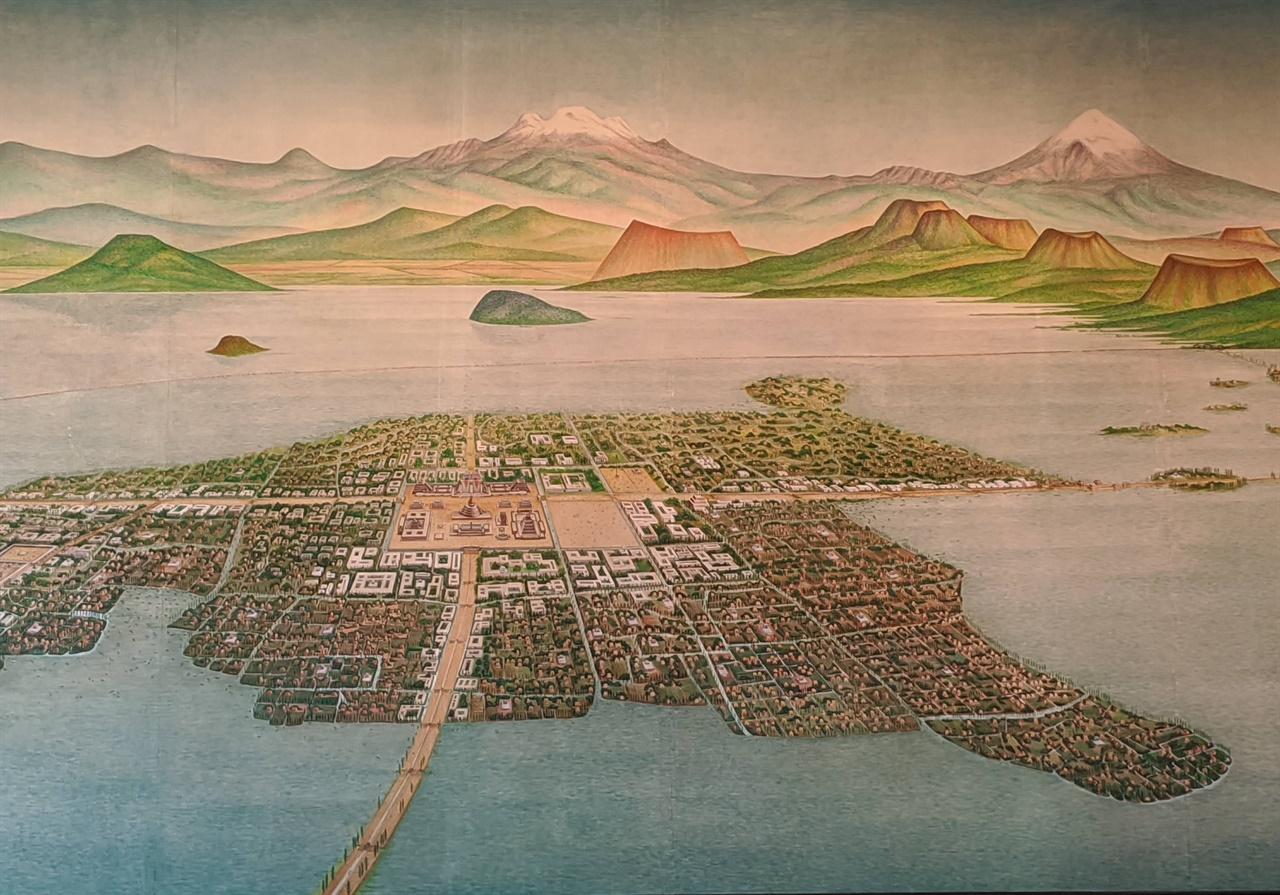 호수 위에 있는 멕시코시티 국립 인류학 박물관에 전시되어 있는 16세기 멕시코시티(테노치티틀란) 모습