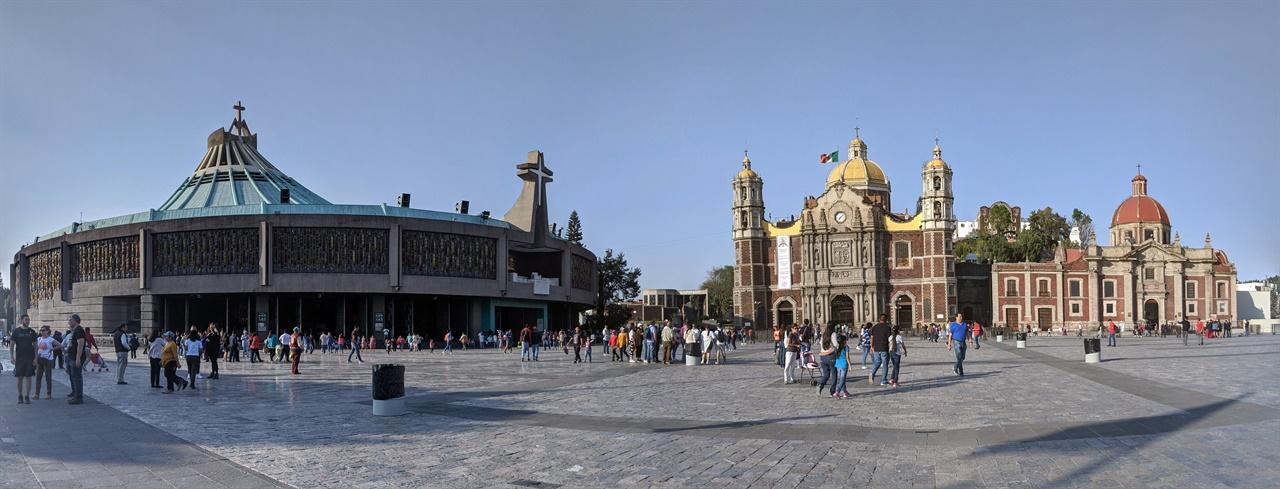 과달루페 바실리카 성당 가운데 보이는 성당이 16세기에 지어진 원래의 성당인데, 지반의 침하로 기울어짐으로써 1974년부터는 체육관 모양으로 생긴 신 성당에서 미사가 치러지고 있다. 과달루페 성모상 역시 신 성당 중앙에 전시하고 있다. 얼핏 보아도 구 성당의 기울어짐을 알 수 있다.