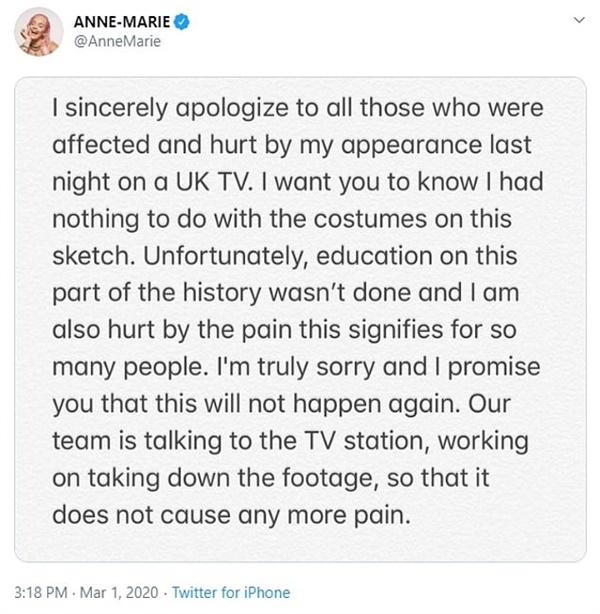 욱일기 논란을 사과하는 앤 마리의 트위터 갈무리.