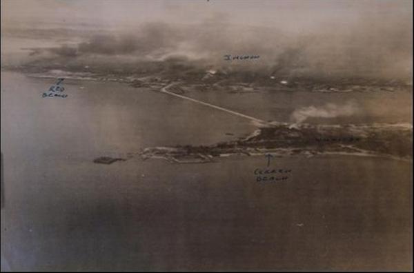 1950년 9월 10일 월미도 폭격 당시 상공에서 바라 본 불바다 전경