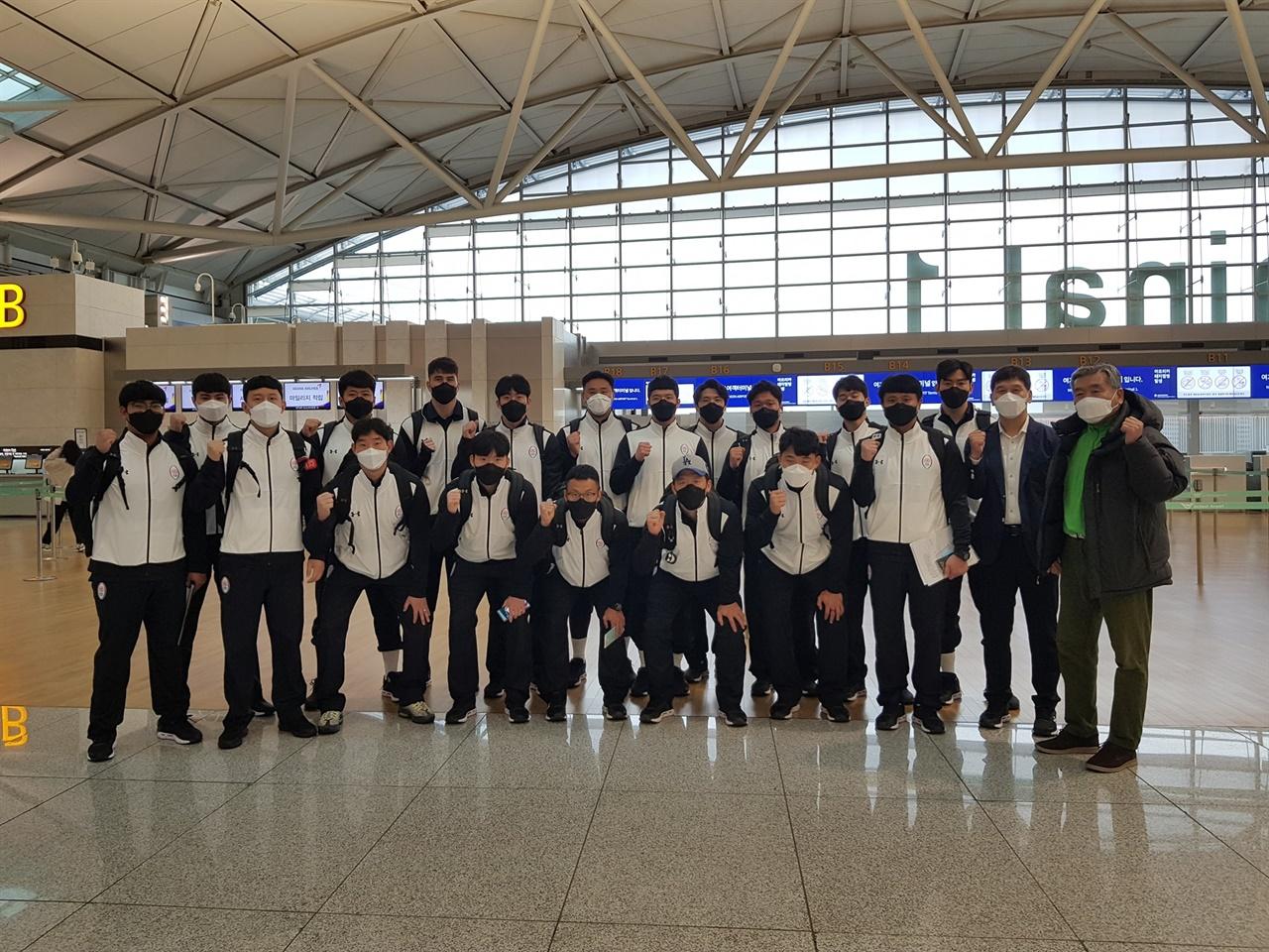 지난 25일 인천국제공항을 통해 LA로 출국한 럭비 대표팀.