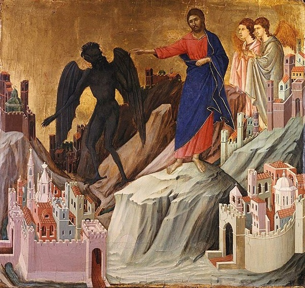 The Temptation of Christ on the Mountain - Duccio di Buoninsegna(1308-11)