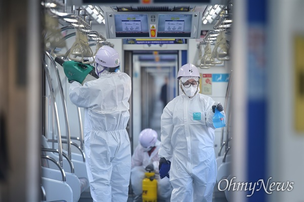 코로나19 감염 예방 인천 대중교통시설 방역 현장.