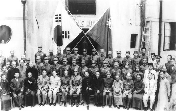 1940년 9월 17일, 충칭 가릉빈관에서 열린 '한국광복군총사령부 성립전례식'