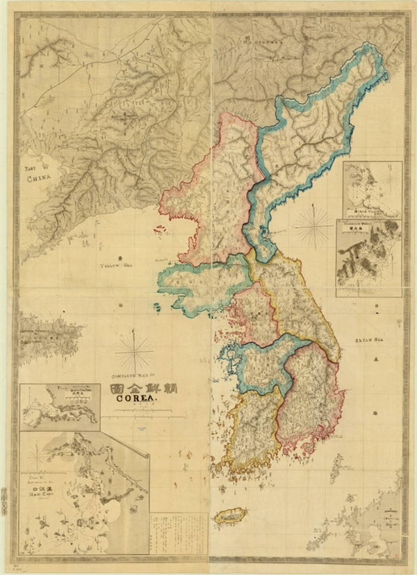 1875년 일본 육군 참모국이 제작한 일본 최초의 조선 전도.